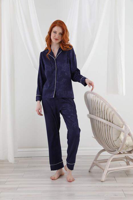 SEVİM - 13063 Kadın Dantelli Saten Pijama Takım