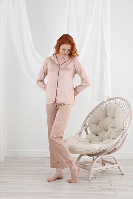 SEVİM - 13064 Kadın Dantelli Saten Pijama Takım