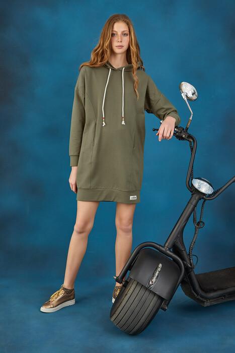GİZZEY - 20664 Kadın Kapüşonlu Elbise