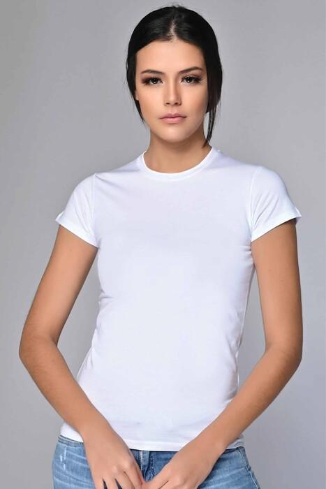 SEVİM - Likralı Yuvarlak Yaka Tişört