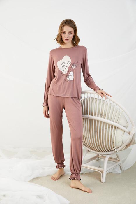ZEY - 30348 Bayan Baskılı Pijama Takım
