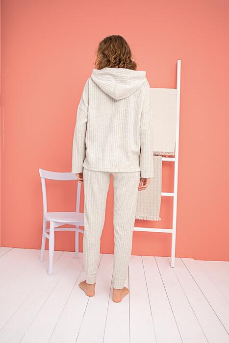 ZEY - 30366 Bayan Kapüşonlu Pijama Takım (1)