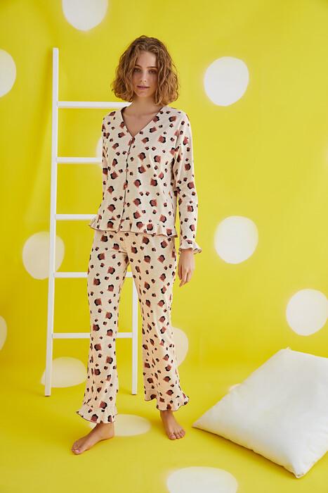 ZEY - 30373 Bayan Düğmeli Pijama Takım