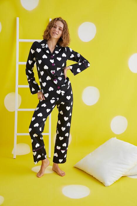 ZEY - 30414 Bayan Düğmeli Pijama Takım