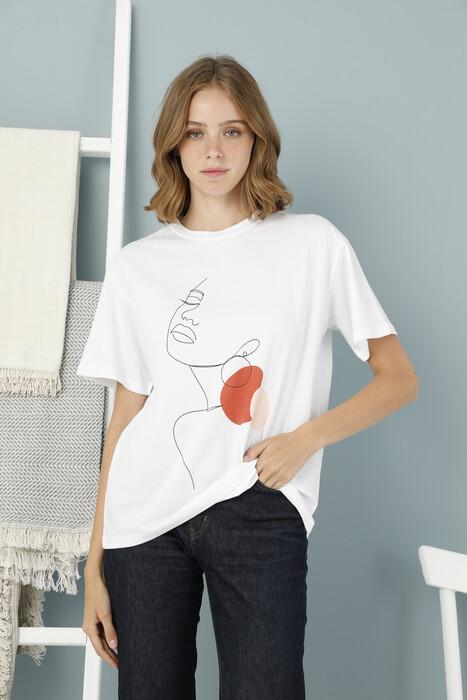 ZEY - Bayan Baskılı Boyfriend T-Shirt