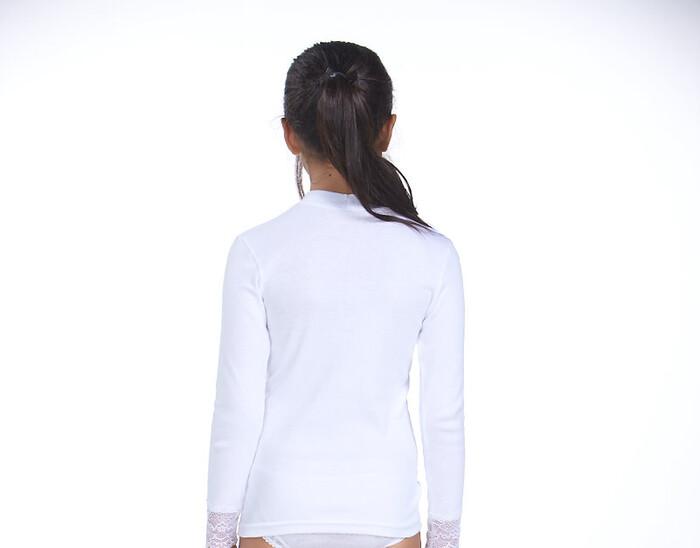 SEVİM - Çocuk 3'lü Ribana Dantelli Kız T-Shirt (1)