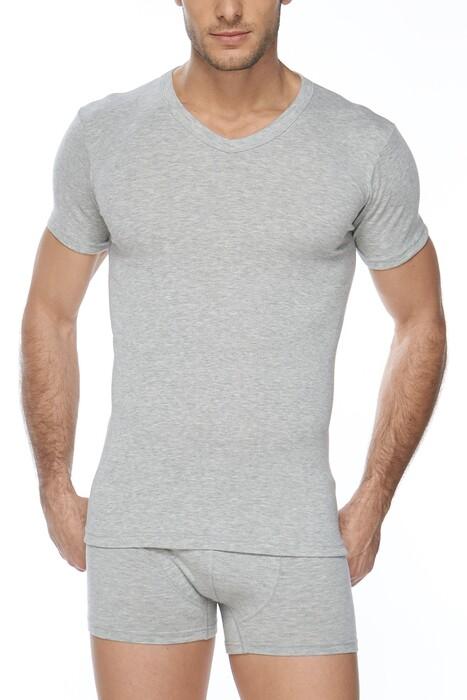 SVM - Erkek 2'li Ribana Likralı V Yaka Tişört