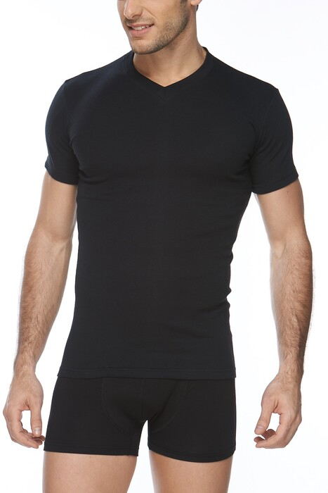 SVM - Erkek 2'li Ribana Likralı V Yaka Tişört (1)