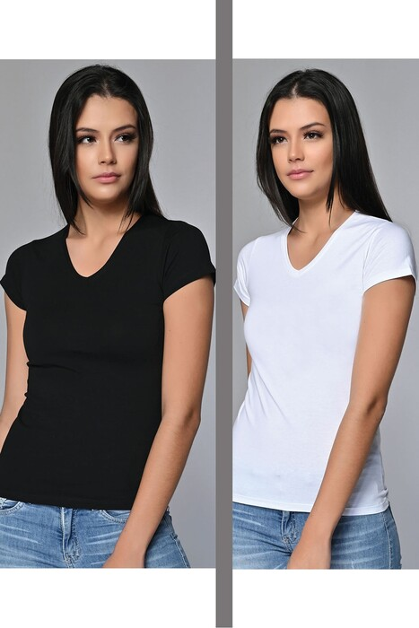 SEVİM - Kadın V Yaka T-Shirt 2'li Asorti Paket