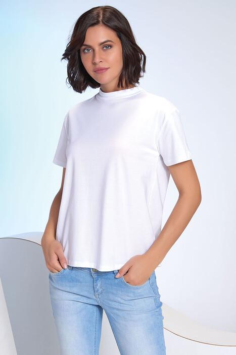SEVİM - Kadın Dik Yaka T-Shirt