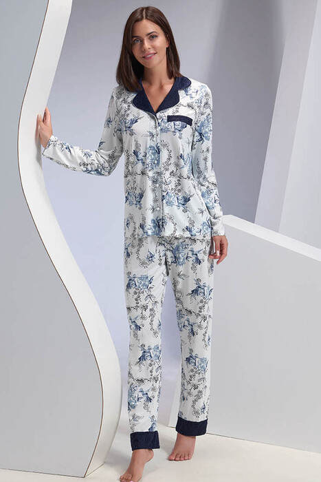 SEVİM - Kadın Düğmeli Pijama Takım (1)