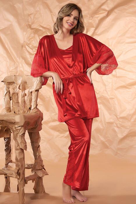 SEVİM - Kadın Kadife 3'Lü Pijama Takım
