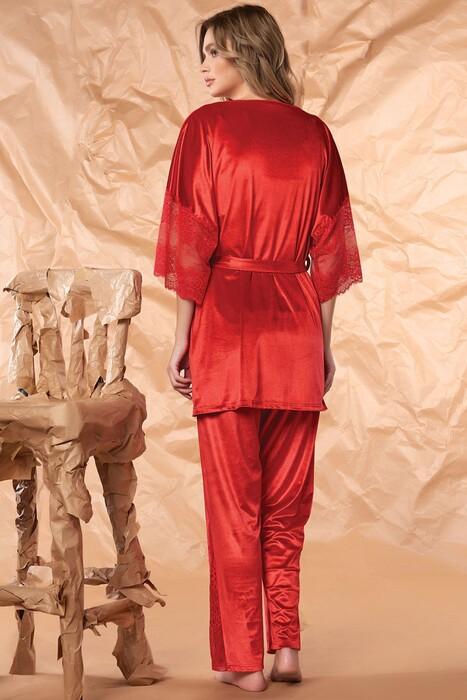 SEVİM - Kadın Kadife 3'Lü Pijama Takım (1)