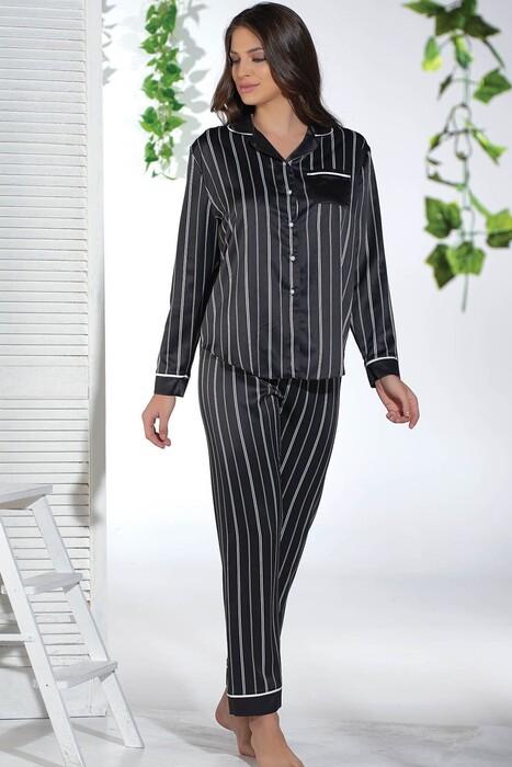 SEVİM - Kadın Saten Düğmeli Pijama Takım