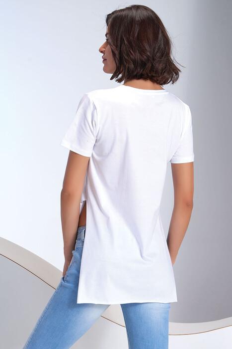 SEVİM - Kadın V Yaka Yırtmaçlı T-Shirt (1)