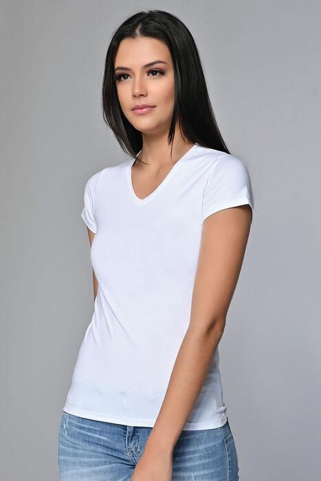 SEVİM - Likralı V Yaka Tişört